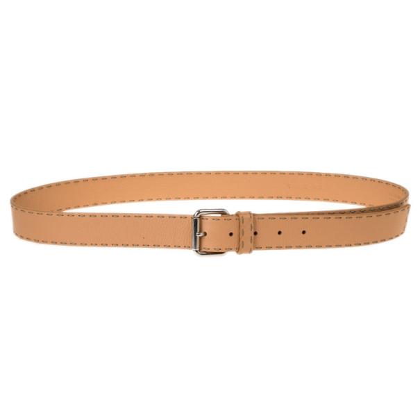 Fendi Beige Leather Belt 105CM