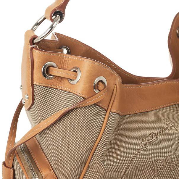 Prada Beige Trim Logo Jacquard Hobo Bag