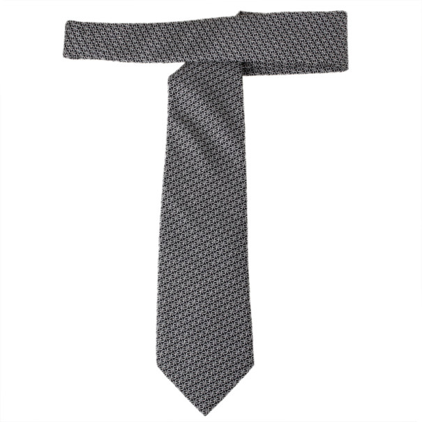 Fendi Black FF Embroidered Silk Tie