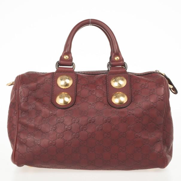 Gucci Red Guccissima Boston Bag
