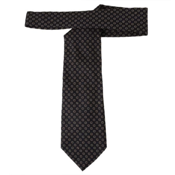 Fendi Black Silk Embroidered Tie