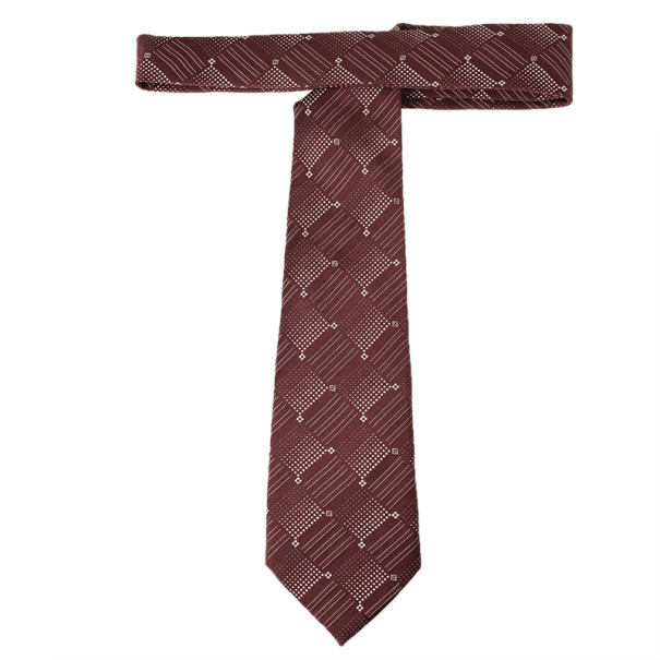Fendi Maroon Silk Embroidered Tie