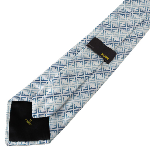 Fendi Two Tone FF Embroidered Tie
