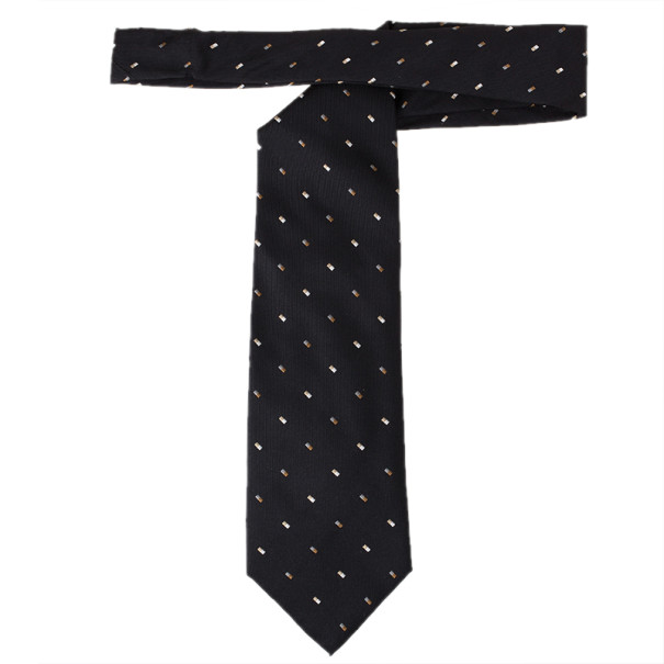 Fendi Black Silk Embroidered Tie