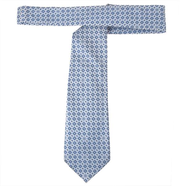 Fendi Blue Silk Embroidered Tie