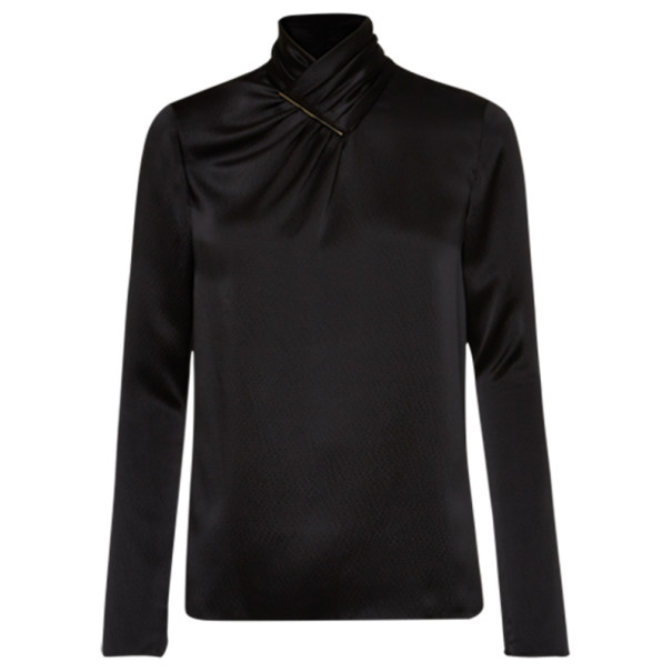 Jason Wu Black Hammered Silk Blouse S