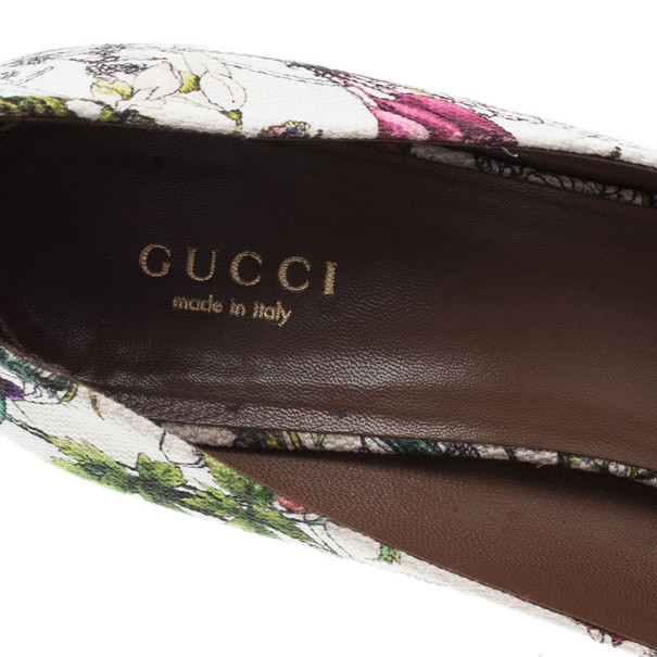 Gucci Infinity Flora Canvas Bamboo Bow Peep Toe Pumps Size 38