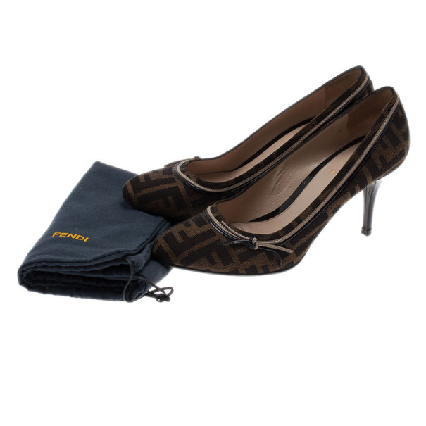 Fendi Zucca Canvas and Leather Pumps Size 38