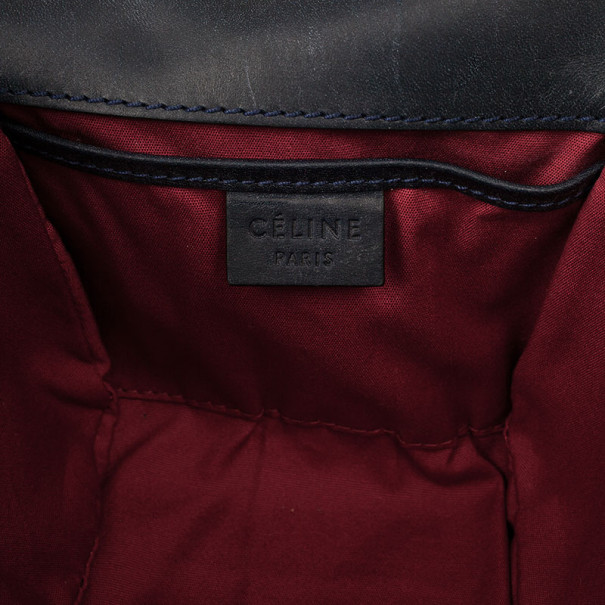 Celine Grey Logo Padlock Canvas and Leather Camera Bag