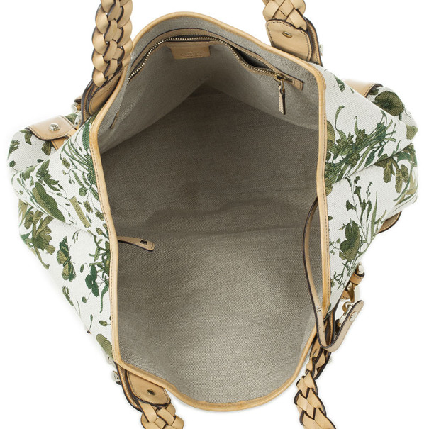 Gucci Beige and Green Floral Canvas Pelham Tote Bag