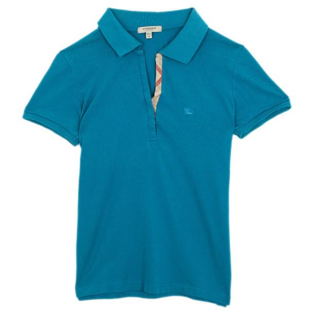 Burberry Blue Check Placket Polo Shirt S