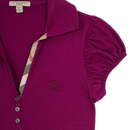 Burberry Pink Check Placket Polo Shirt S