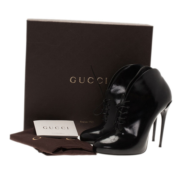Gucci Black Curved Leather Kim Lace Up Ankle Boots Size 36