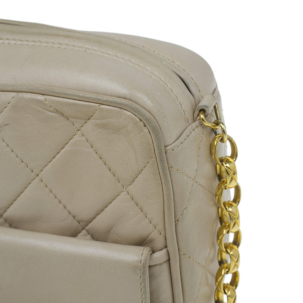 Chanel Beige Quilted Lambskin Shoulder Bag With Tassel