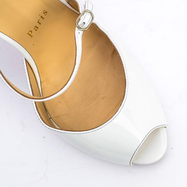 Christian Louboutin White Patent Grolili Cross-Strap Dórsay Pumps Size 38.5