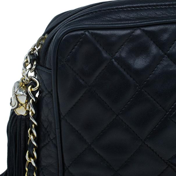 Chanel Black Lambskin Camera Bag With Tassel