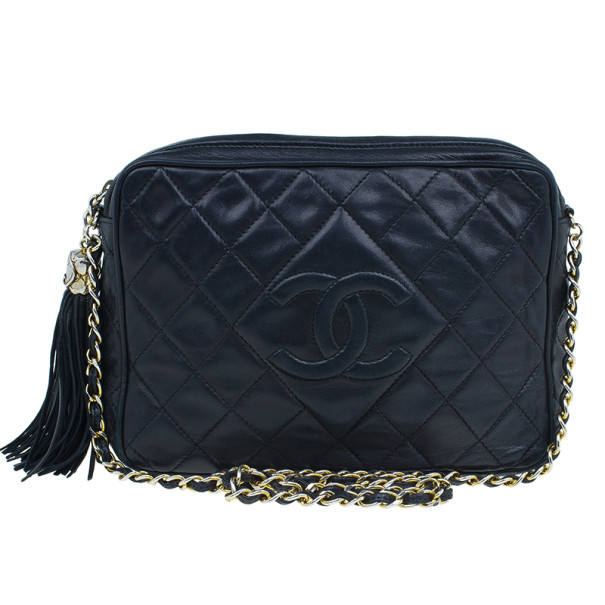 Chanel Black Lambskin Camera Bag With Tassel