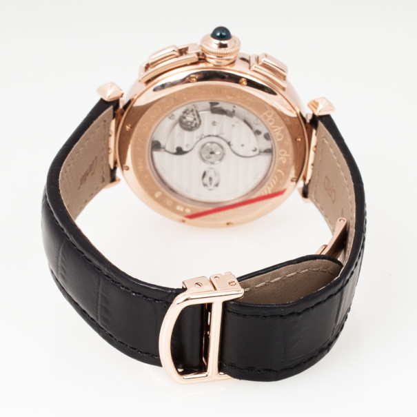 Cartier Pasha 18K Rose Gold Leather Chronograph Unisex Wristwatch 42 MM
