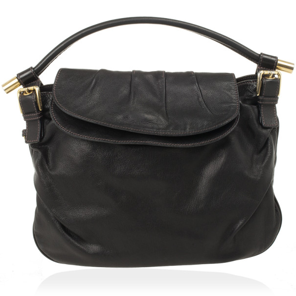 Dolce and Gabbana Black Leather Top Flap Hobo Bag