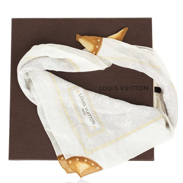 Louis Vuitton White Monogram Square Scarf