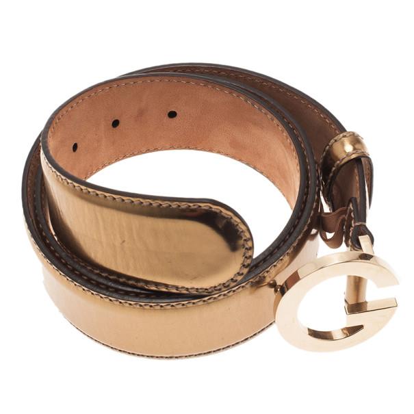 Gucci Bronze Leather G Buckle Belt 85CM
