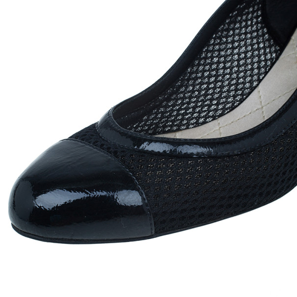 Chanel Black Patent Leather and Mesh Cap Toe Pumps Size 38