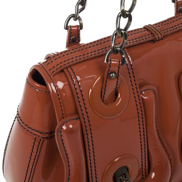 Fendi Light Brown Patent Leather B Bag