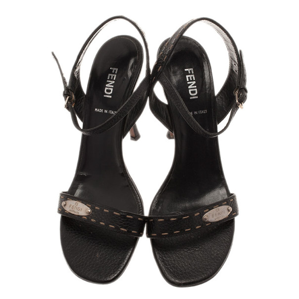 Fendi Black Leather Ankle Strap Sandals Size 38