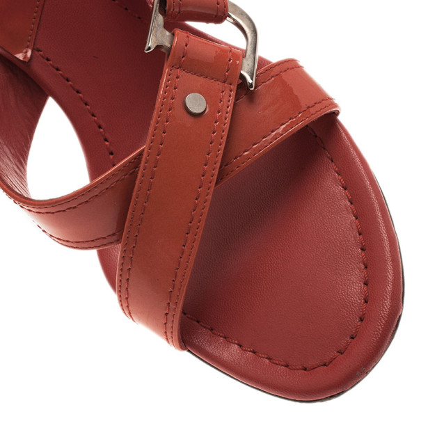 Dior Orange Patent Leather Slides Size 39