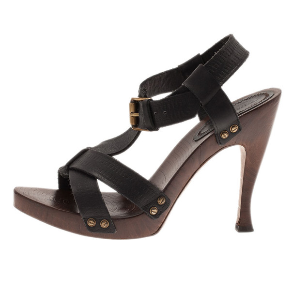 Bottega Veneta Black Leather Strappy Wooden Sandals Size 38
