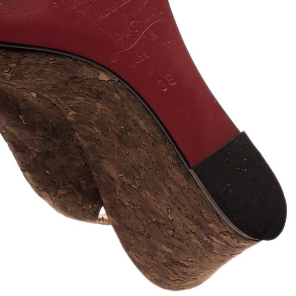 Christian Louboutin Marpoil Cork Slingback Wedges Size 38