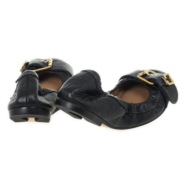 Chloé Black Leather Buckle Ballet Flats Size 36
