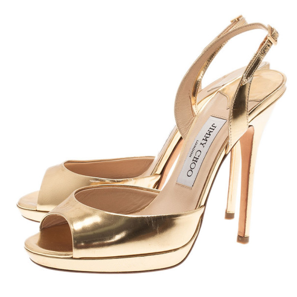 Jimmy Choo Gold Leather Slingback Sandals Size 38