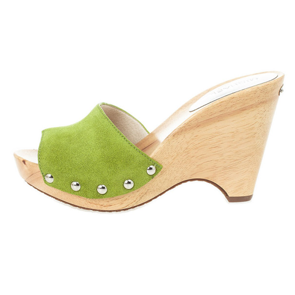 MICHAEL Michael Kors Green Suede Easton Mules Size 38.5