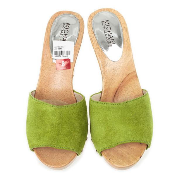 MICHAEL Michael Kors Green Suede Easton Mules Size 38.5