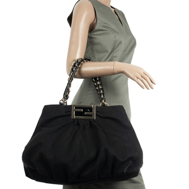 Fendi Black Grande Mia Shoulder Bag