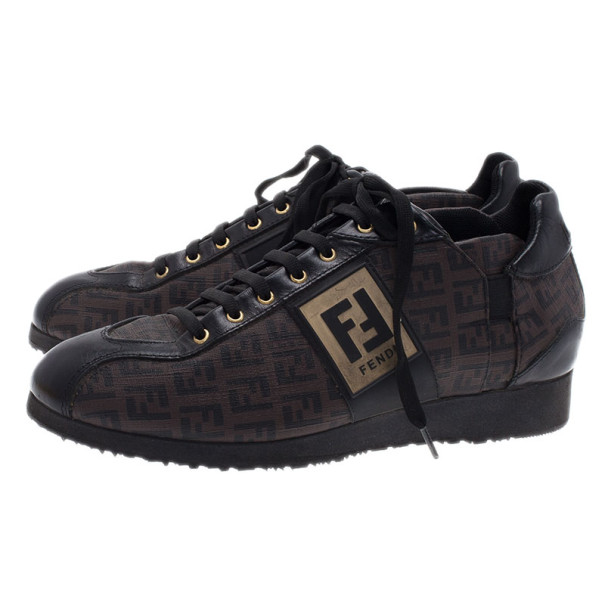 Fendi Brown Zucchino Canvas and Leather Sneakers Size 39