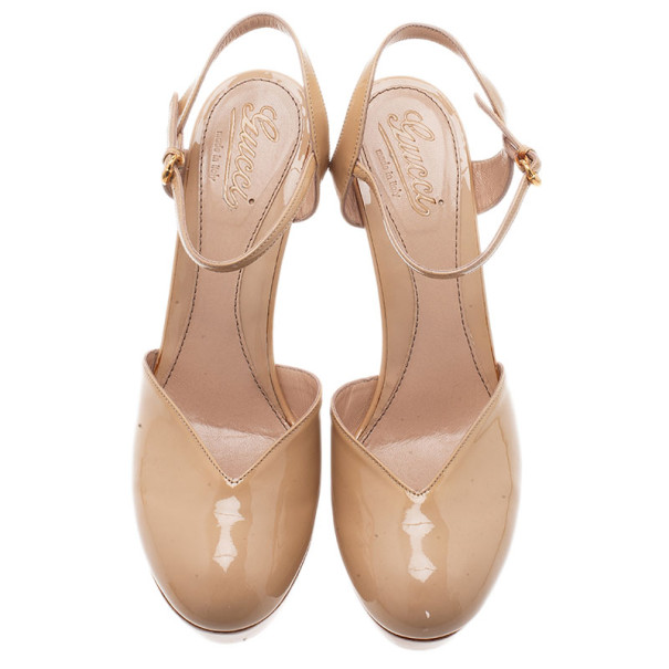 Gucci Nude Patent Leather Ankle Strap Platform Sandals Size 39.5