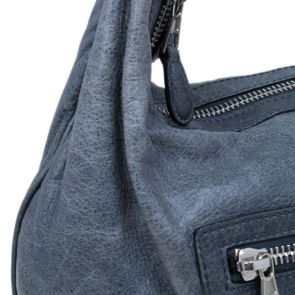 Balenciaga Grey Leather Giant Hobo