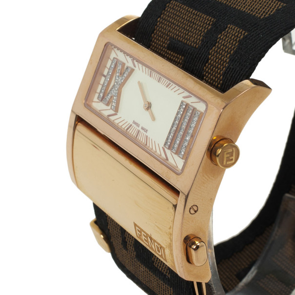 Fendi Diamonds and Gold Fittings Zip Code Womens Wristwatch 40 MM