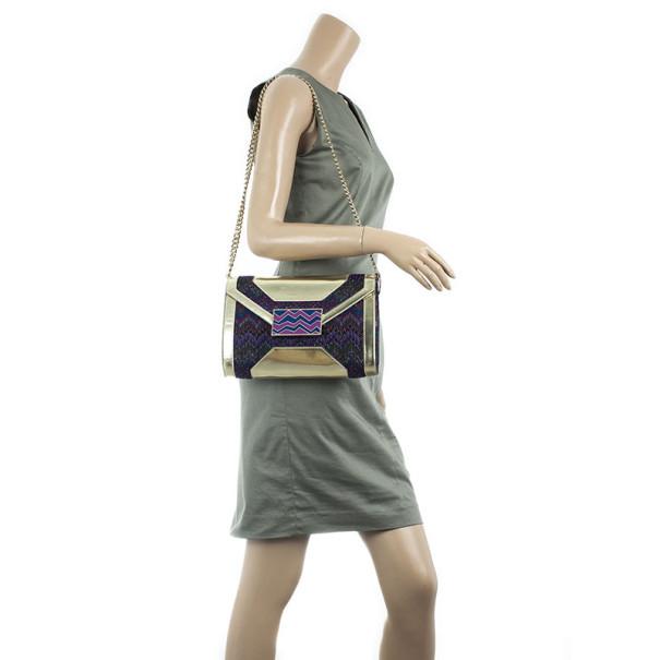 Missoni Metallic Fabric and Leather Shoulder Bag