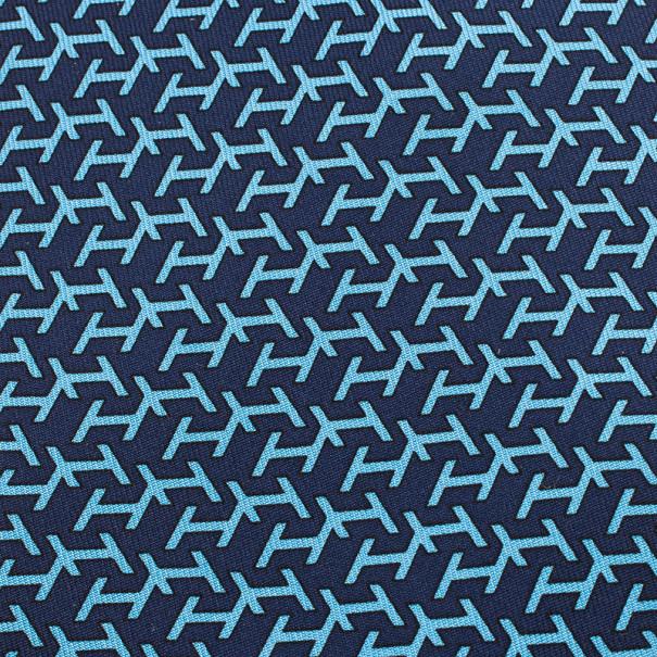 Hermes Blue H Logo Print Tie