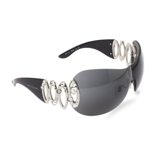 Bvlgari Black 6017B Strass Edge Shield Women Sunglasses