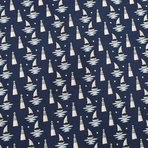 Salvatore Ferragamo Blue Sail Boat and Lighthouse Print Tie