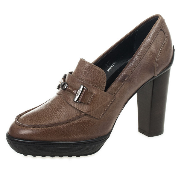 Tod's Brown Leather Wooden Heel Loafer Pumps Size 37