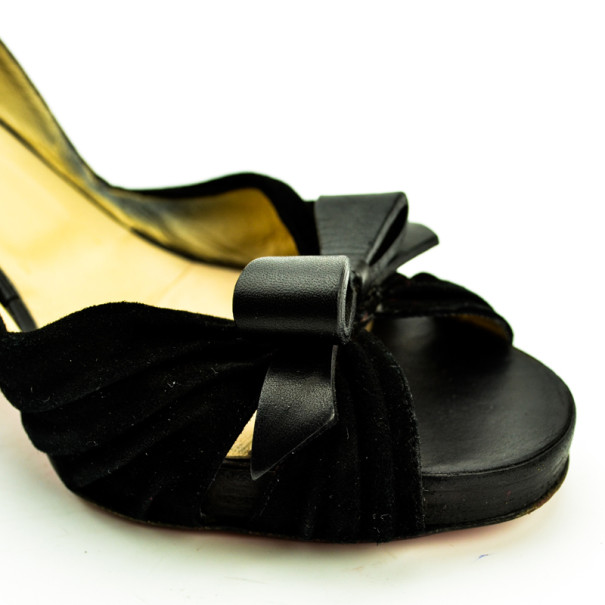 Christian Louboutin Black Suede & Linen Lady Turner D'orsay Pumps Size 40