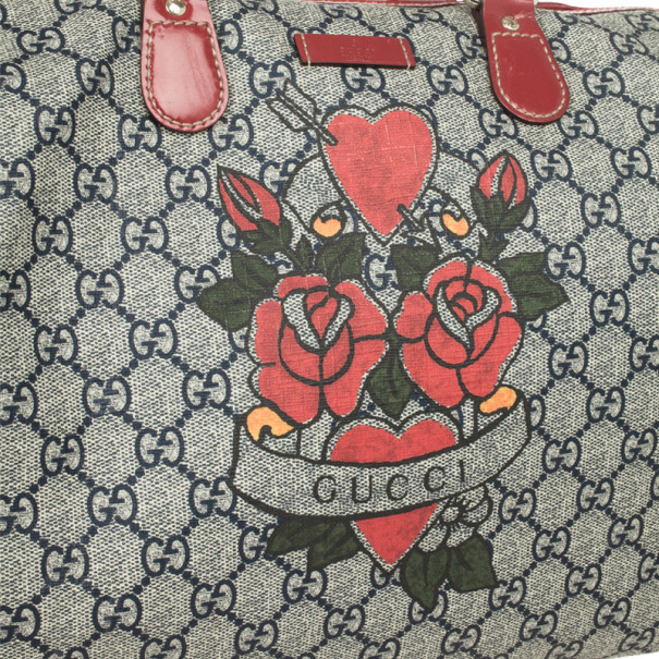 Gucci GG Plus Tattoo Hearts And Roses Large 'Joy' Boston Satchel