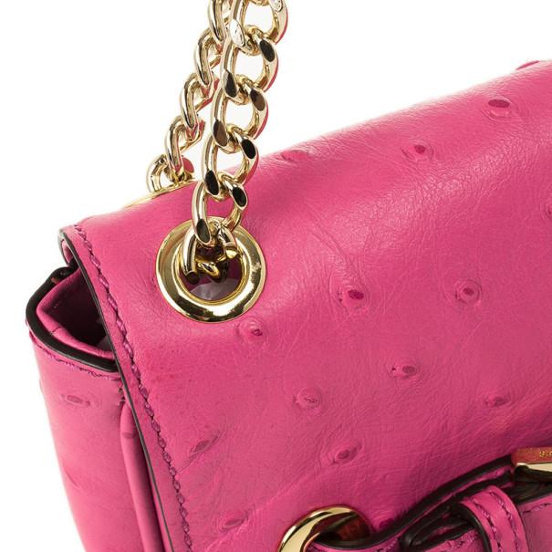 Michael Kors Pink Ostrich Embossed Shoulder Flap Bag