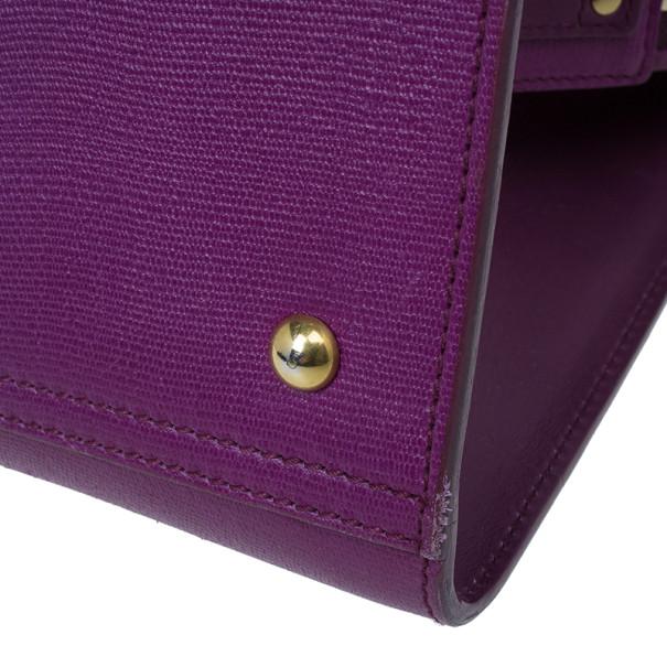 Saint Laurent Paris Purple Leather Cabas Chyc Tote