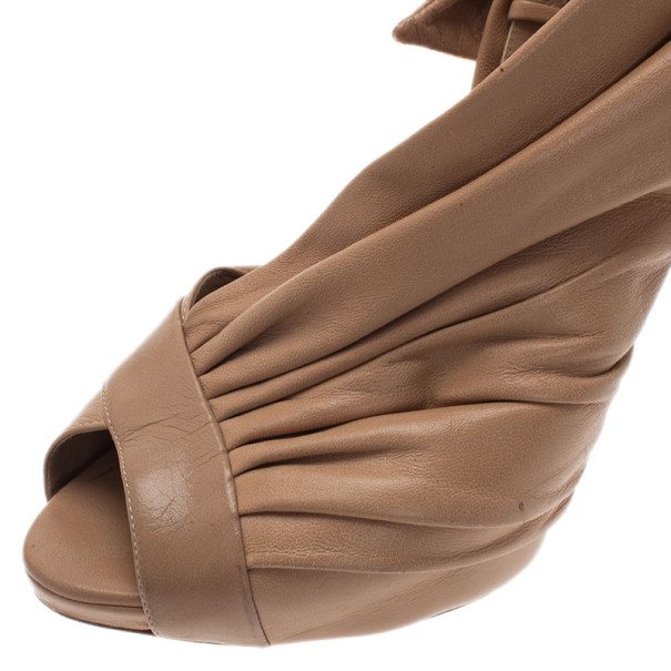Dior Beige Pleated Leather Slingback Sandals Size 40